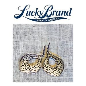 NWOT. Lucky Brand Silver Drop Cut Out Earrings